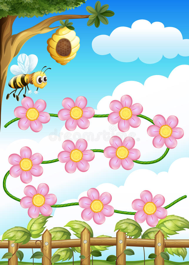 Free A Bee And Flowers Royalty Free Stock Image - 28723686