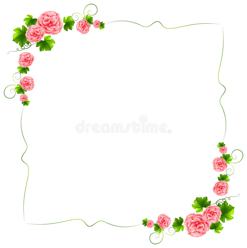 Free A Border With Carnation Pink Flowers Royalty Free Stock Photos - 39464208