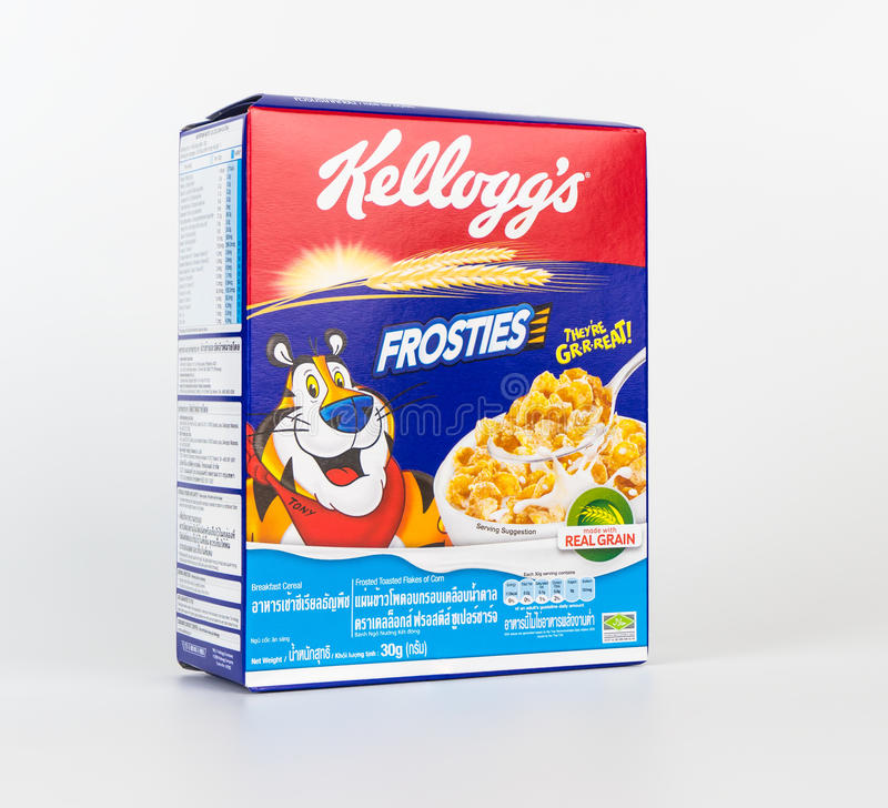 Free A Box Of Frosties Sweet Breakfast Cereal Isolated On White. Royalty Free Stock Photo - 94671375