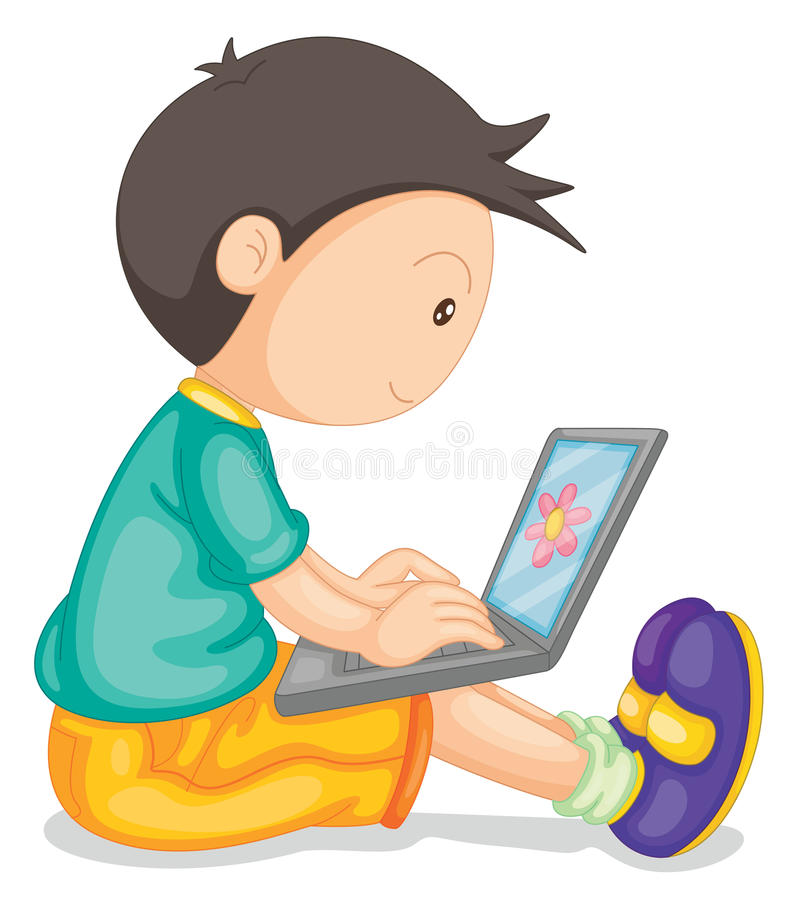 Free A Boy And Laptop Stock Photo - 26112340