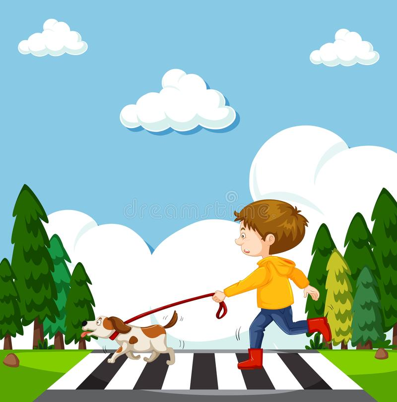 Free A Boy Crossing Street With Dog Royalty Free Stock Photos - 118550068