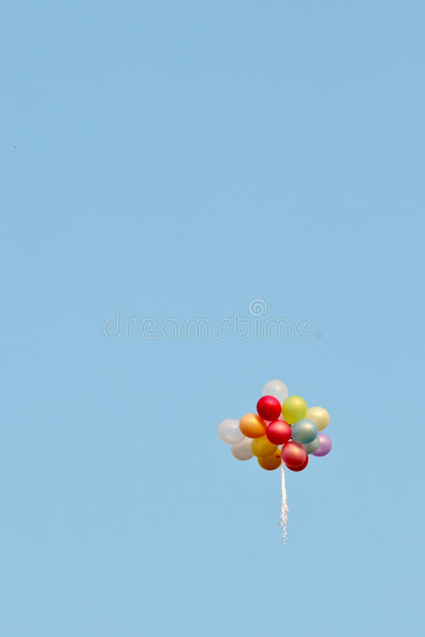 Free A Bunch Of Painted Balloons In A Blue Sky Flying Away Royalty Free Stock Images - 46124099