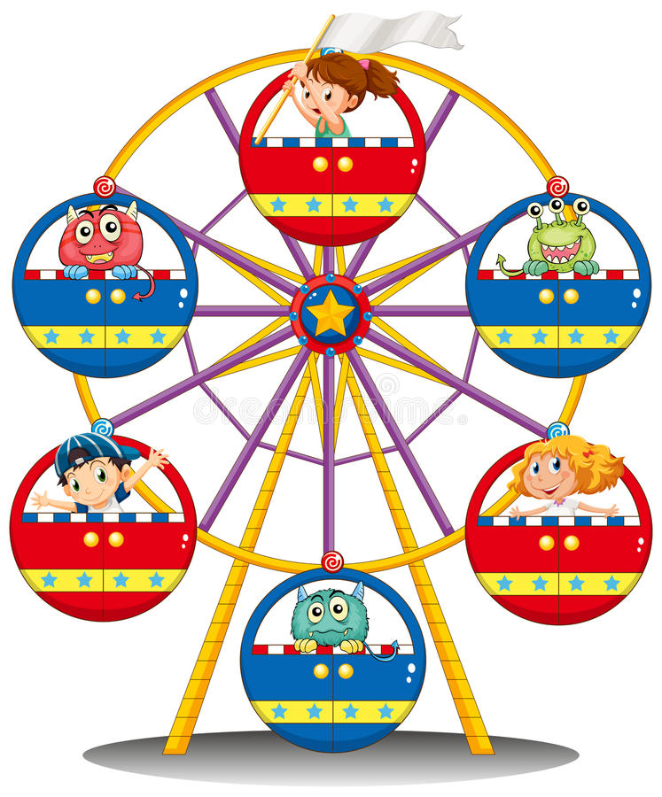 Free A Carnival Ride With Monsters And Kids Royalty Free Stock Photo - 40741755