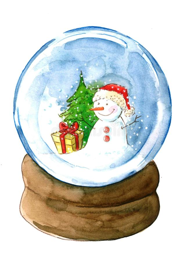 Free A Christmas Snowglobe With A Cute Snowman Watercolor Illustration Stock Photo - 161173390