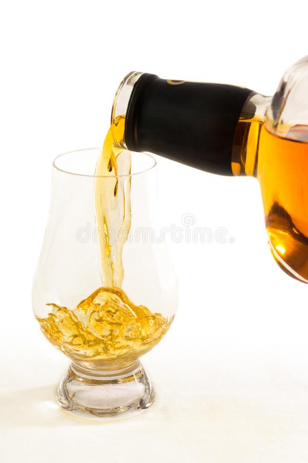 Free A Close Up View Of Straight Bourbon Whiskey Being Poured Into An Official Whiskey Glass - Portrait View Royalty Free Stock Photos - 162089138