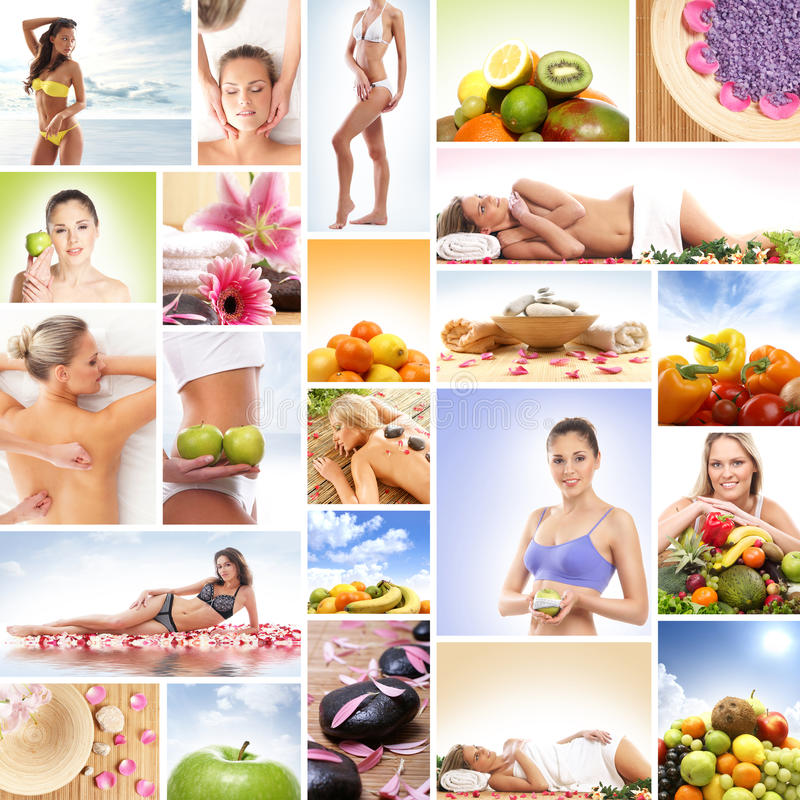 Free A Collage Of Images With Fresh Fruits And Relaxing Women Stock Photo - 28963930