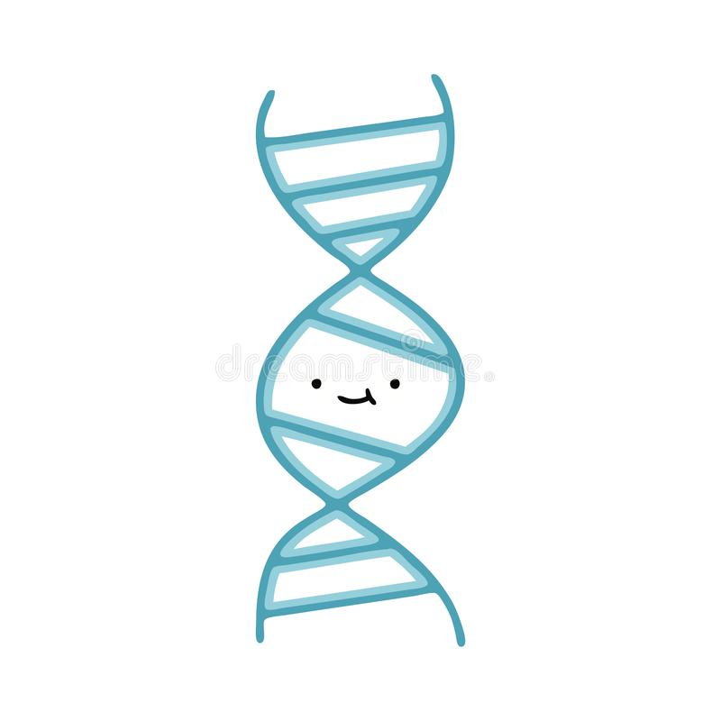 Free A Creative Flat Color Retro Cartoon DNA Strand Stock Photography - 151150892