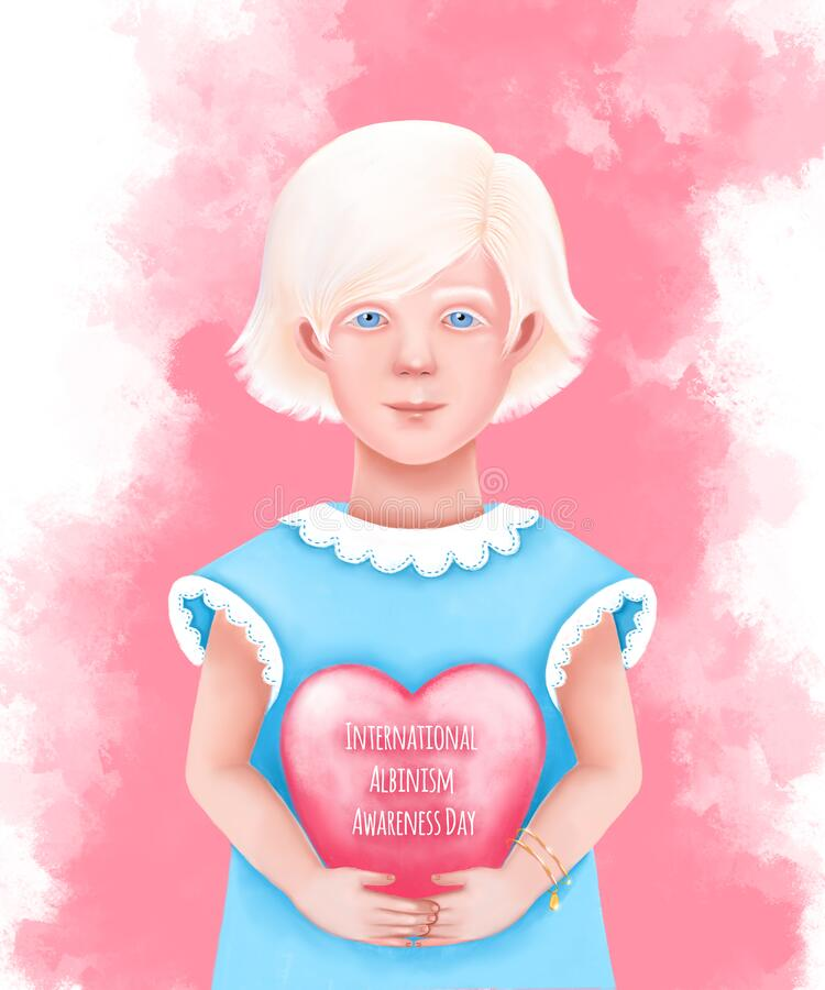 Free A Cute Albino Girl In A Blue Dress Holds A Pink Heart Stock Photo - 220761610