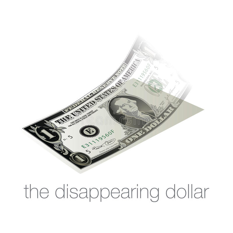 Free A Dollar Bill Disappears In Our Inflated, Weak Economy Stock Images - 85908384