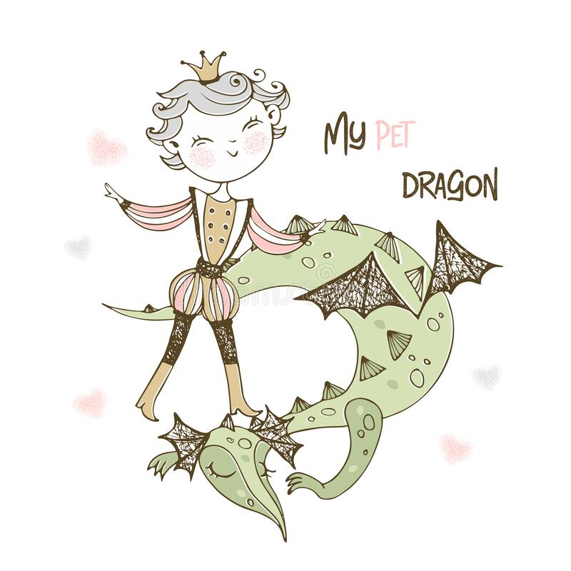 Free A Fairy Prince And A Dragon. Vector Stock Image - 186238141