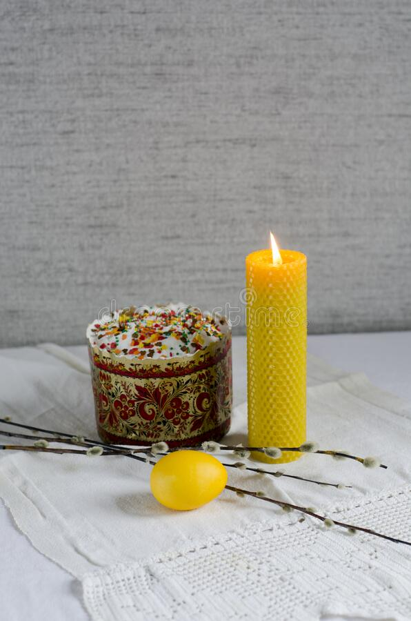 Free A Festive Postcard With Easter Symbols: Egg, Cake, Willow And A Candle. Royalty Free Stock Photos - 215867488