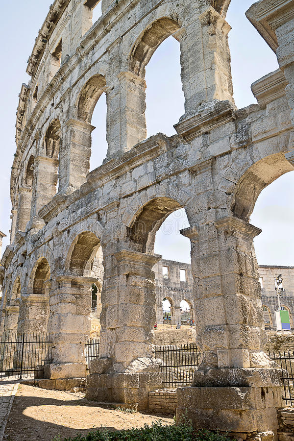 Free A Fragment Of Antique Roman Amphitheater Wall In Pula Stock Photos - 52116133