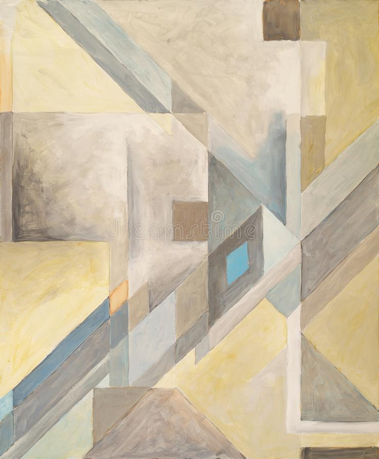 Free A Geometric Abstract Painting; Subdued Browns And Yellows, With A Diagonal Motif Royalty Free Stock Photography - 164836367