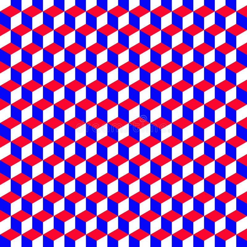 Free A Geometric Pattern With Cubes That Are The Colors Of The American Flag, Vector Royalty Free Stock Images - 72419679