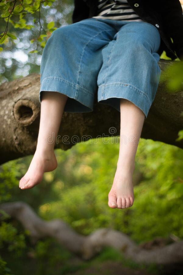 Free A Girl Dangles Her Feet From The Branch Of A Tree She Has Climbed Stock Photos - 181683453