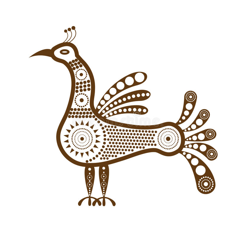 Free A Graphic Decorative Image Of The Standing Bird In Tribal Style. Royalty Free Stock Photography - 83684197