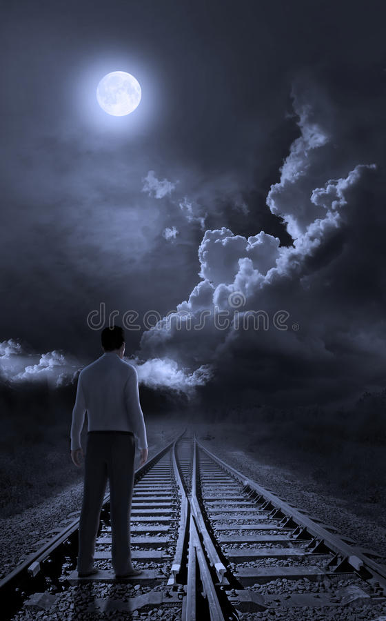 Free A Guy Standing On Rail Track Looking Royalty Free Stock Photos - 29788798