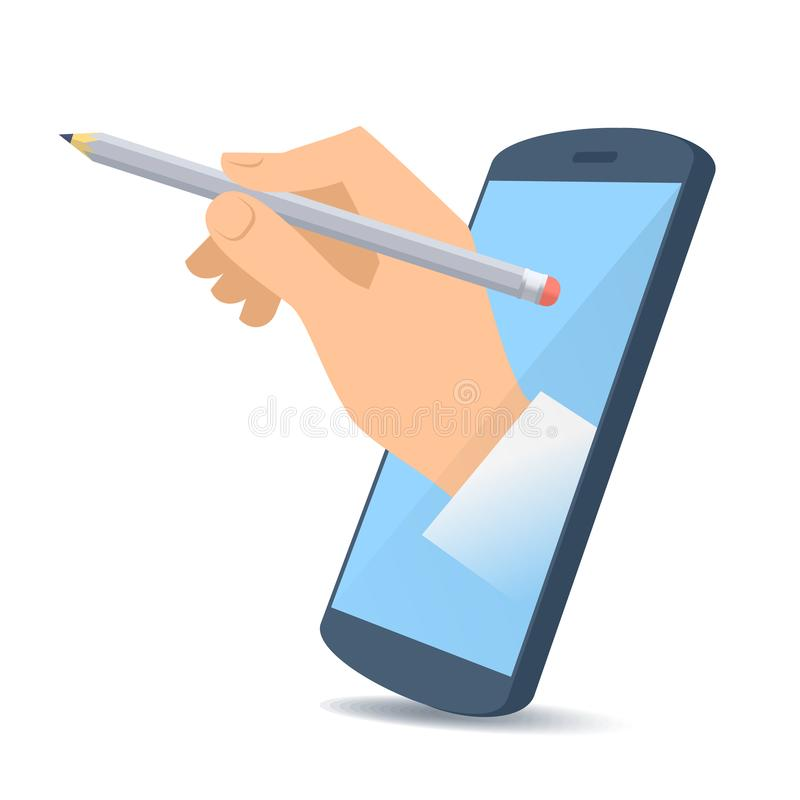 Free A Hand From The Phone`s Screen Holds An Office Pencil. Stock Photo - 107962550