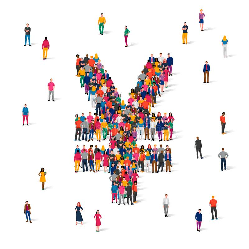 Free A Large Group Of People Are Standing In The Shape Of The Yen Sign. Japanese Currency Concept. Crowd Royalty Free Stock Image - 220237986