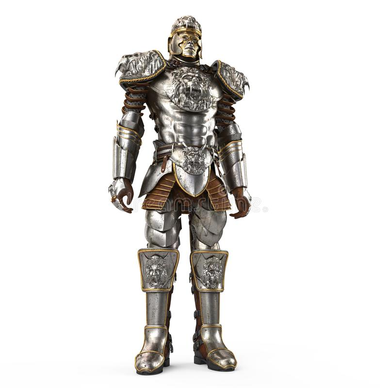 Free A Lion Full Body Armor Suit Isolated Against White Background. 3d Illustration Royalty Free Stock Photography - 105636467