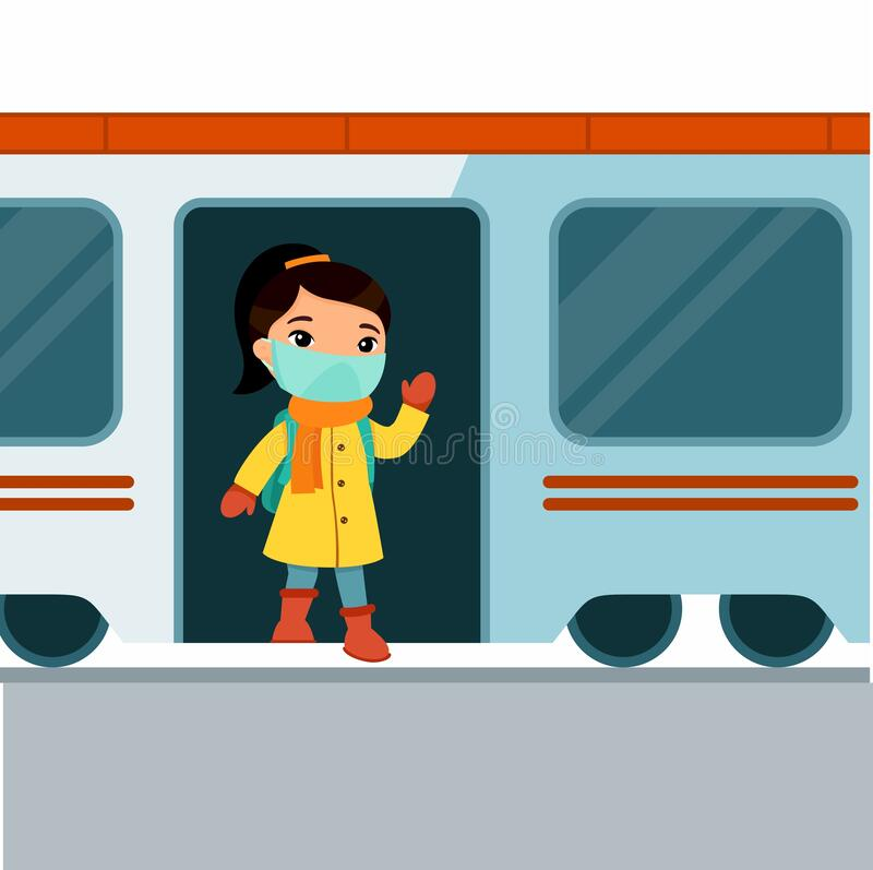Free A Little Asian Girl Leaves The Train And Waves. Royalty Free Stock Photography - 173326747
