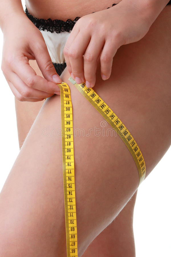 Free A Little Bit Fat Young Woman Mesuring Her Body Stock Photos - 10089413