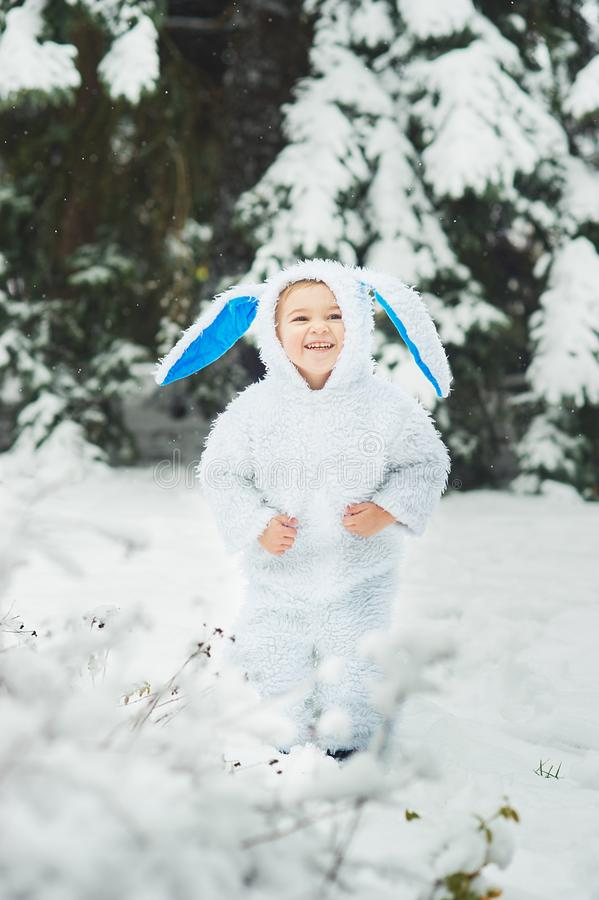 Free A Little Boy Dressed As Rabbit Meets New Year Stock Photography - 128452982