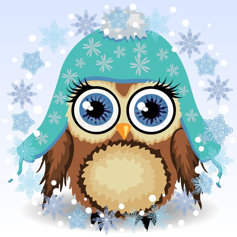Free A Little Cute Owl In A Blue Cap With Long Ears, A Winter Owl, Shelter From The Cold Royalty Free Stock Photos - 153077648