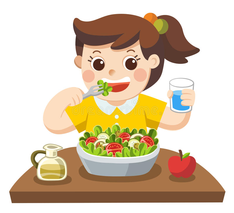 Free A Little Girl Happy To Eat Salad. She Love Vegetables. Royalty Free Stock Photos - 96206148