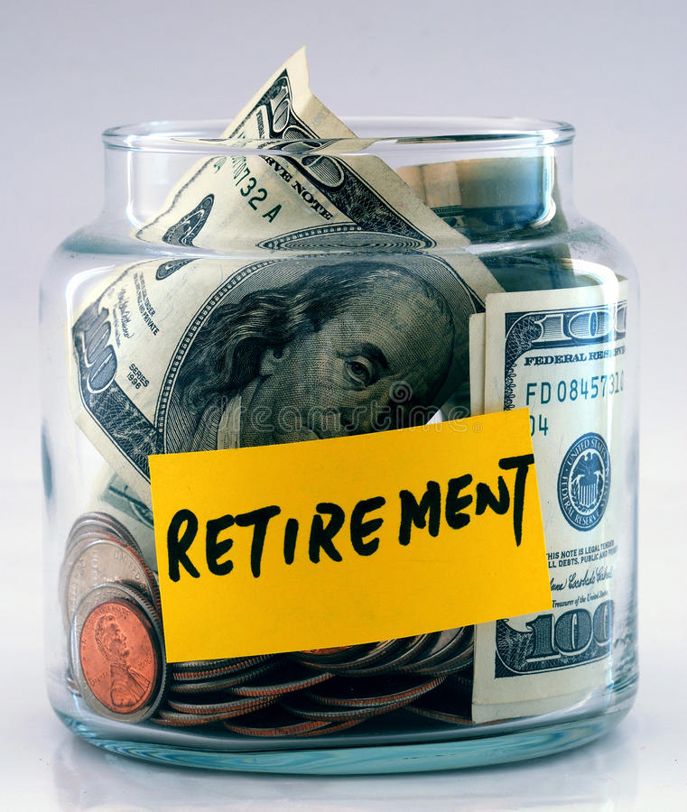 Free A Lot Of Money In A Glass Jar Labeled Retirement Stock Images - 11345204