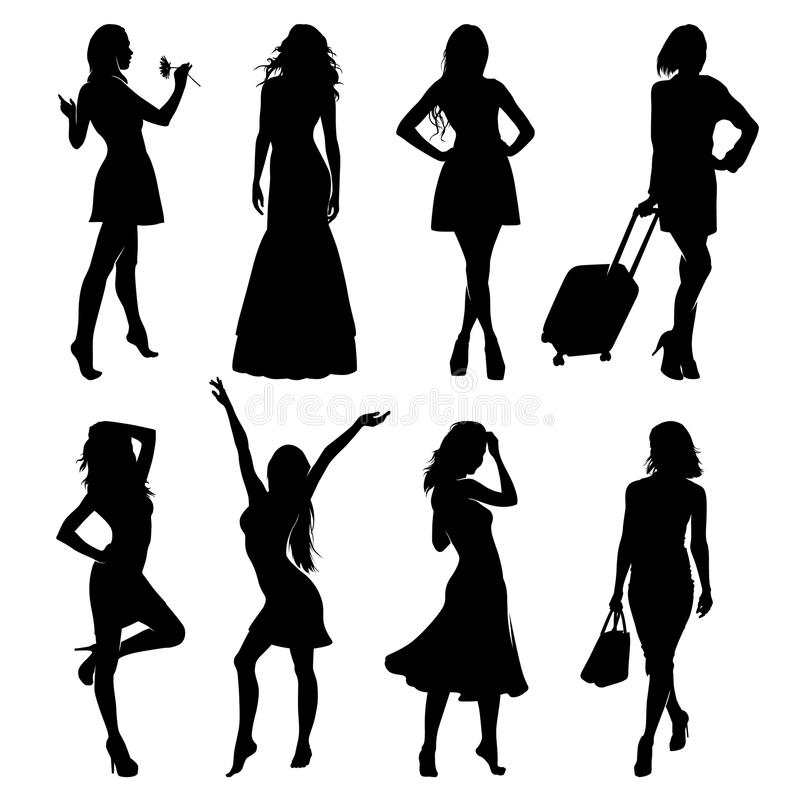Free A Lot Of Vector Black Silhouettes Of Beautiful Women On White Background Stock Images - 119223884