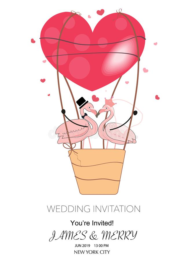 Free A Loving Couple Of Funny Flamingos With Red Hearts Air Balloon. The Concept Of Love. Wedding Invitation. Valentine`s Day. Stock Image - 117142641