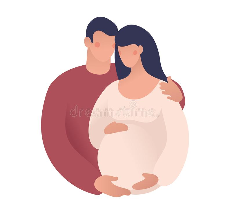 Free A Man And A Pregnant Woman. The Husband And Wife Are Expecting A Baby. Concept Illustration Of Motherhood, Pregnancy Royalty Free Stock Images - 166920069