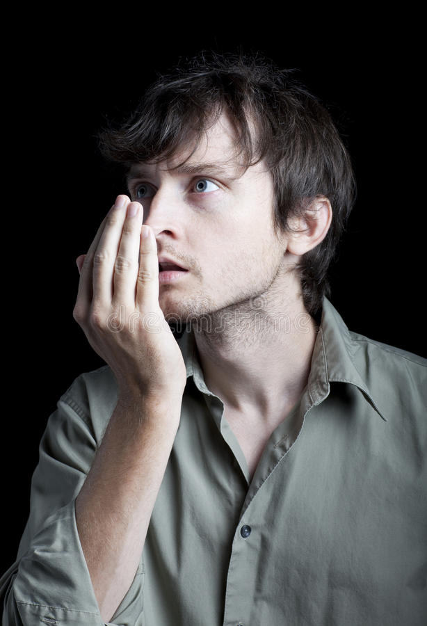 Free A Man Checking His Bad Breath Stock Image - 15787161
