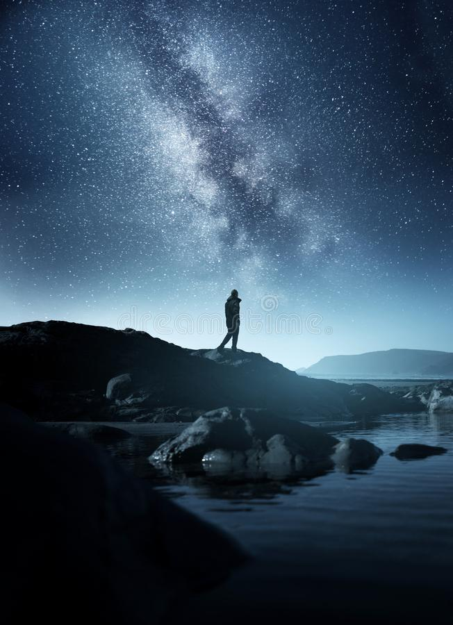 Free A Man Watching The Night Sky Royalty Free Stock Images - 161774079