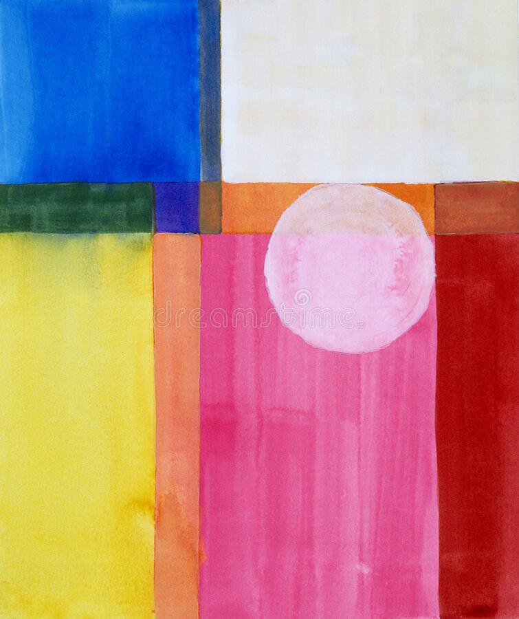 Free A Minimalist Abstract Watercolor Painting; A Composition Of Simple Blocks Of Colour And A Circle Royalty Free Stock Photos - 171343258