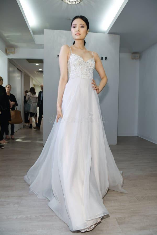 Free A Model Poses During The Allison Webb Spring 2020 Bridal Fashion Presentation Royalty Free Stock Image - 145446336