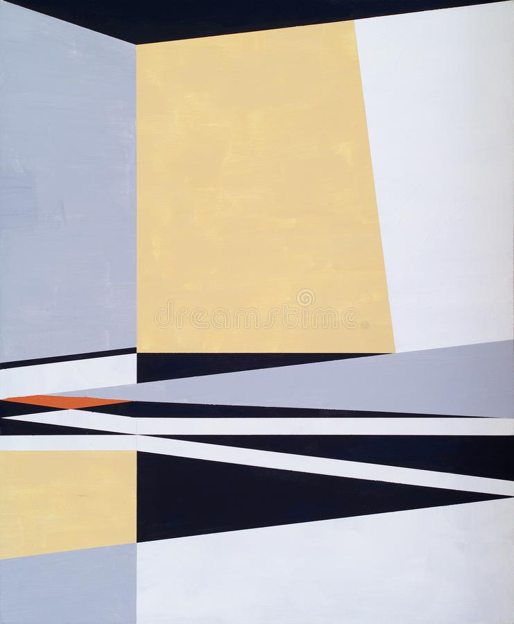 Free A Modernist Hard Edged Abstract Painting; Linear And Geometric, With Limited Color Range Stock Images - 164463024