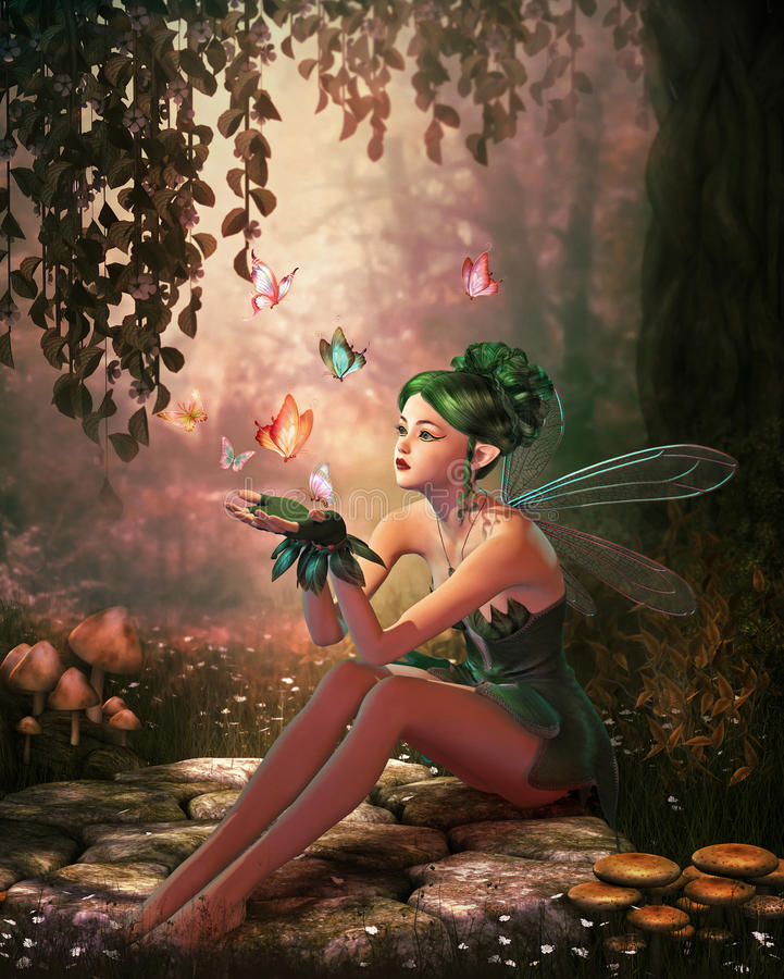 Free A Place Of Butterflies, 3d CG Royalty Free Stock Image - 41161766