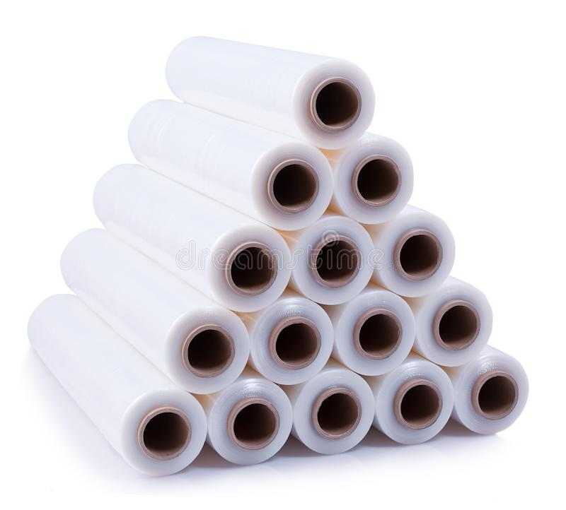 Free A Pyramid Stacked With Rolls Of Stretch Film On A White Background. Royalty Free Stock Photos - 108886658