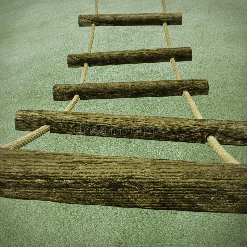 Free A Rope Ladder With Wooden Rungs Royalty Free Stock Image - 191979466