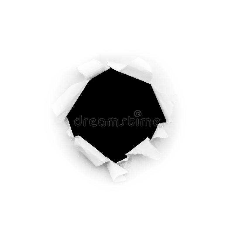 Free A Round Hole In White Paper With Torn Edges Isolated On A White Background With A Black Isolated Background Inside Stock Image - 164921451