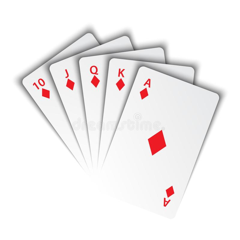 Free A Royal Flush Of Diamonds On White Background, Winning Hands Of Poker Cards, Casino Playing Cards Stock Photography - 152962442