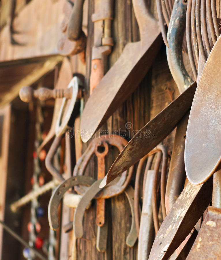 Free A Rustic Wooden Wall Of Rusty Tools Royalty Free Stock Images - 53799609