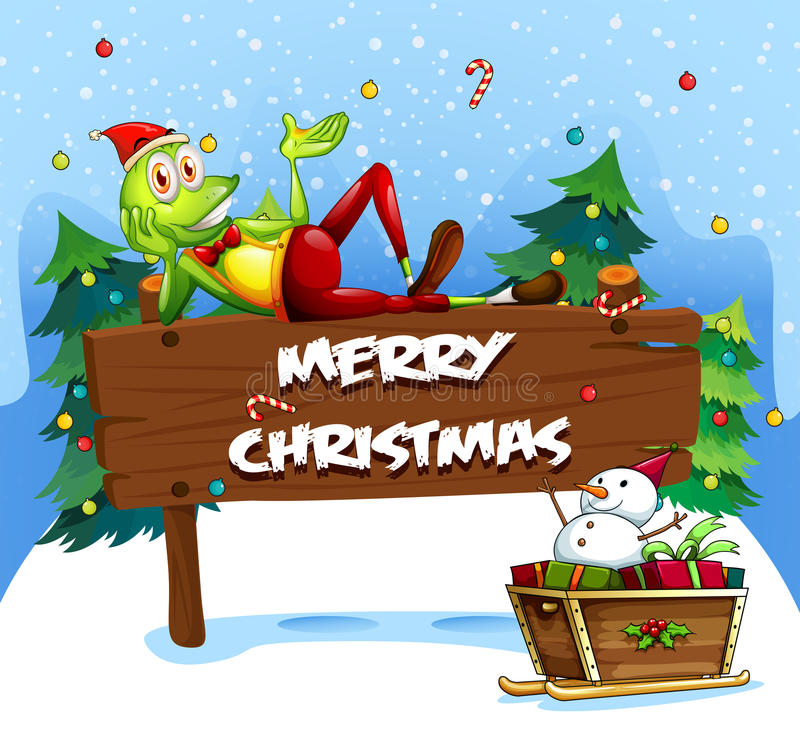 Free A Santa Frog Above The Christmas Signboard Stock Image - 36749181
