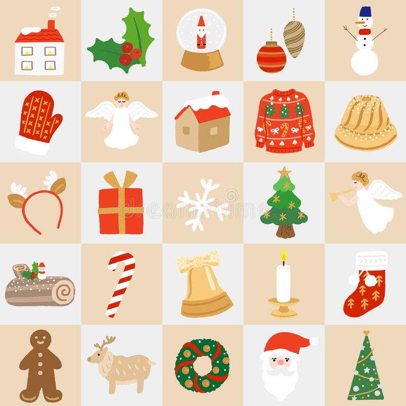 Free A Set Of Christmas Item Icons Royalty Free Stock Photo - 195074615