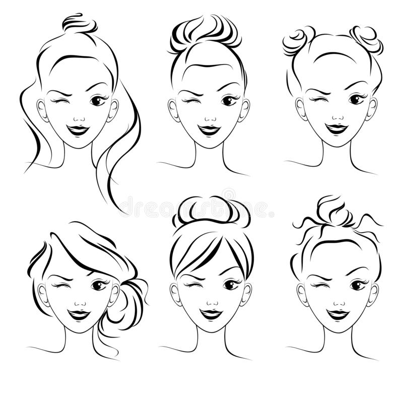 Free A Set Of Hairstyles, A Sketch. Fashionable Hairstyles For Long Hair, Bun Royalty Free Stock Photos - 151332348