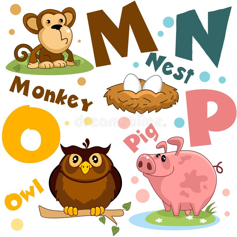 Free A Set Of Letters With Pictures Of Animals, Words From The English Alphabet. For The Education Of Children. Party 4 Stock Images - 141798084