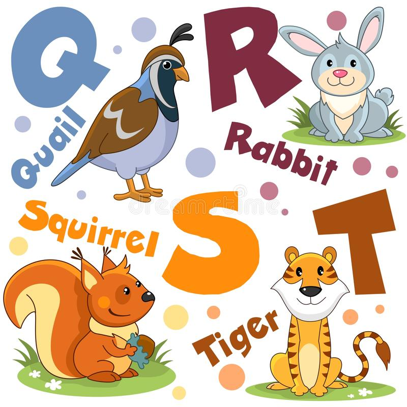 Free A Set Of Letters With Pictures Of Animals, Words From The English Alphabet. For The Education Of Children. Party 5 Stock Image - 141798091
