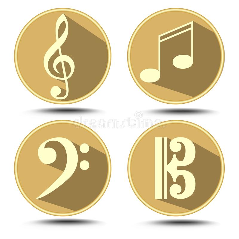 Free A Set Of Music Symbol In Circle With Long Shadow. Treble Clef, Bass Clef, Music Note Stock Images - 50617344